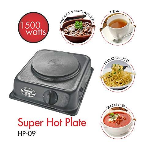 Warmex Super Hot Plate 09 with Sealed Element-1500 Watts (Metallic Black)