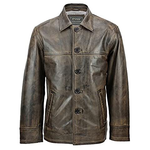 XPOSED Mens Real Leather Vintage Button Box Jacket Antique Washed Brown Classic Reefer Coat
