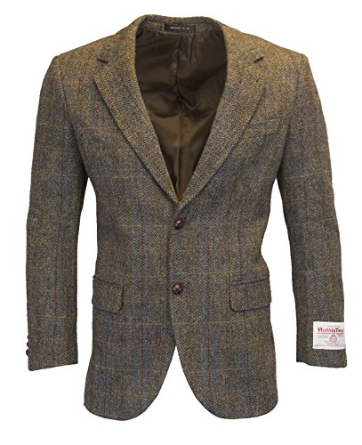 Walker & Hawkes - Herren Country-Blazer - Klassisch Schottische Jacke aus Harris-Tweed - Fischgrätmuster - Overcheck-Tartanmuster - Clinton-Braun - 3XL (Harris Sakko Tweed)