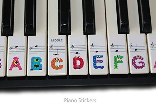 Keyboard oder Piano Aufkleber 61Schlüssel Set für Kinder lernen, zu spielen die lustige Art psmw61