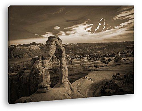 Landschaft im Nationalpark in Utah Format: 60x40 Effekt: Sepia als Leinwand, Motiv fertig gerahmt auf Echtholzrahmen, Hochwertiger Digitaldruck mit Rahmen, Kein Poster oder Plakat (Jersey New Felsen)