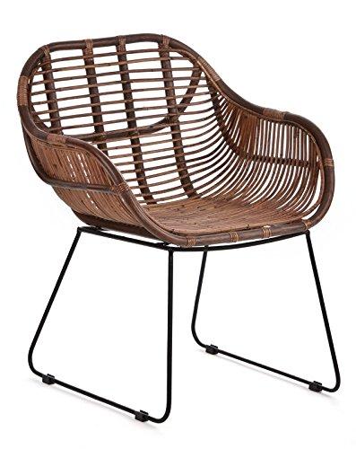 RATTANSTUHL Rattan-Stühle Korb-Stuhl Korb-Sessel - braun - Retro 50er Lounge Loft Esszimmer Garten Küche Bistro Balkon Terrasse mit Armlehne