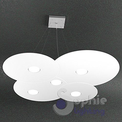 Lustre lampe suspension Grand réglable Panneau slim nuage rond 73 x 67 cm LED remplaçables 45 W Design ultra moderne élégant minimaliste acier blanc table péninsule de cuisine/salle à manger bureau magasin Disk S5 Sophie Lighting