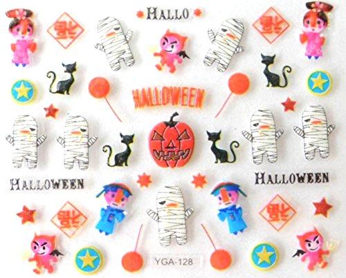 Générique Nail Art Autocollants Stickers Ongles: Décorations Halloween citrouilles momies