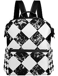 TIZORAX Grunge - Mochila Escolar, diseño de Cuadros, Color Blanco y Negro
