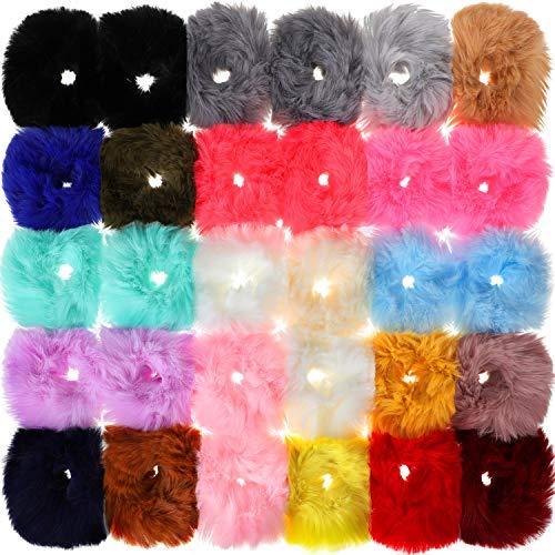 30 pezzi elastici capelli di pelliccia finto pompom palla elastica capelli fermacoda lanuginoso porta coda di cavallo fermacoda pom pom elastici per donne accessori per capelli, 21 colori
