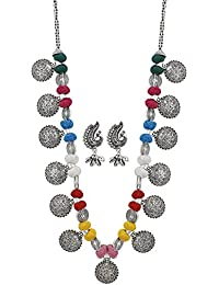 Aradhya High Finished Silver Designer Multi Colour Thread Dandiya Necklace With Earrings For Women And Girls