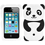kwmobile Hülle für Apple iPhone 4 / 4S - TPU Silikon Backcover Case Handy Schutzhülle - Cover klar Panda Design Schwarz Weiß