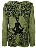 Guru-Shop Sure Langarmshirt, Kapuzenshirt Meditation Chakra Buddha, Herren, Olive, Baumwolle, Size:L, Bedrucktes Shirt Alternative Bekleidung