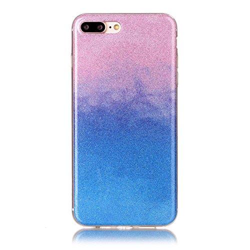 iPhone 7 Plus Hülle Weiches Silikon Glitzer Schutzhülle Tasche Case,Hochwertig Leicht Gummi Schutz Hoch Handyhüllen Schale Etui,Herzzer Modisch Luxus Silikon Bunt Hülle [Farbverlauf Gradient Farbe] Re Rosa und Blau
