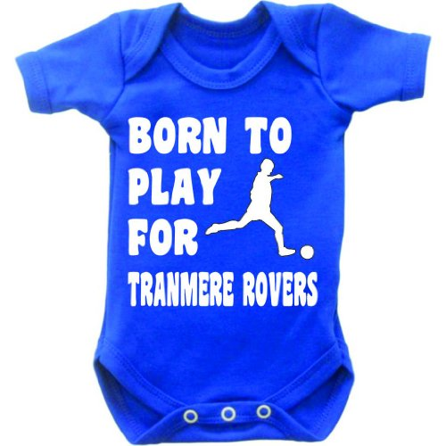 Born To Play Football For Tranmere Rovers Short Sleeved Baby Bodysuit Romper Vest Grow In Royal Blue & White Motif