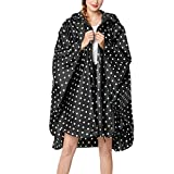 IZHH Mode Damen Regenjacke, Kapuze Wave Point Eva Mantel Feste Taschen Winddicht Freien Outwear Wasserdichte Splice Windjacke Wasserdicht Tupfen(Schwarz2,XX-Large)