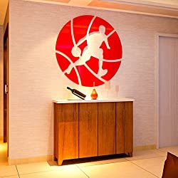 Baloncesto de cristal acrílico 3d estéreo pared dormitorio dormitory deportes dormitorio dormitorio decoración de pared ( Color : Rojo , Tamaño : XL )