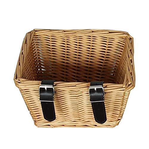 JiangYinXin Fahrradkorb vorne Fahrrad Korb für vorneOutdoor Fahrradkorb umweltfreundliche Wicker handgewebte Wicker Square Fahrradlenker Frontlader Korb -