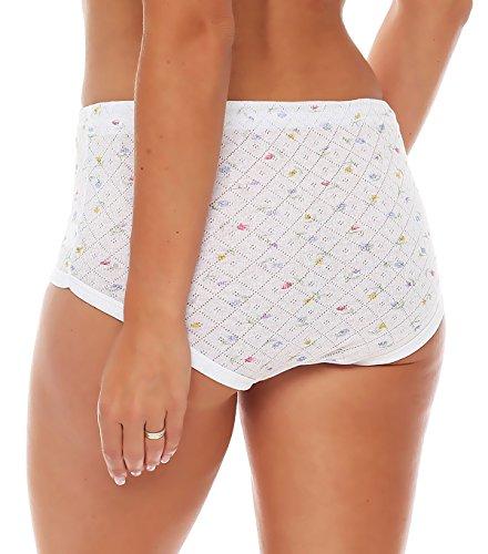 4er Pack Damen Slips aus Baumwolle (weiß / geblümt) Nr. 420 ( Modell 1 (Jaquard) / 56/58 ) - 8