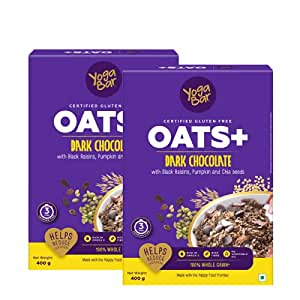 Yogabar Dark Chocolate Oats | Pack of 2 | 400gm Each | Gluten Free Golden Oats That Helps Reduce Cholesterol | Healthy Breakfast Cereal with Wholegrain Oats | Now with Black Raisins