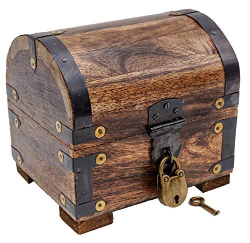 Brynnberg Kleine Schatztruhe mit Schloss Holztruhe Schatzkiste Vintage-Look antikes Design Piraten Schatzsuche Holz massiv braun Spardose Schatulle Bauernkasse Holz Sparkasse Geldtruhe