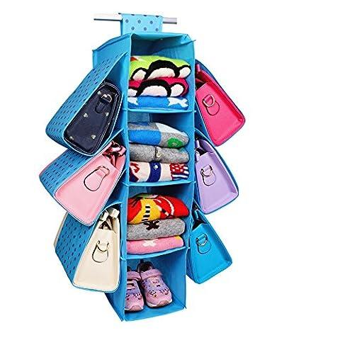 Fumee zum Aufhängen Handtasche Organizer, 4Böden + 6Geldbörse Slots zum Aufhängen Closet Organizer, blau blau