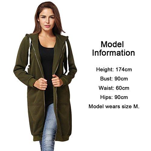 Romacci Damen Kapuzenpullover Lange Kapuzenpullis Beiläufiger Taschen Hoodie Pullover, Größe XXL, Farbe Grün - 6