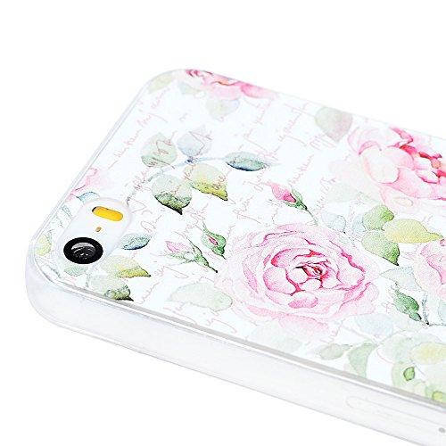 iPhone 5/SE Hülle Case,KASOS iPhone 5/SE Handyhülle Schale Etui Protective Case Cover Gemalt Handyhülle PC Hard Backcase Transparente Bumper Etui,Rosen Rosen