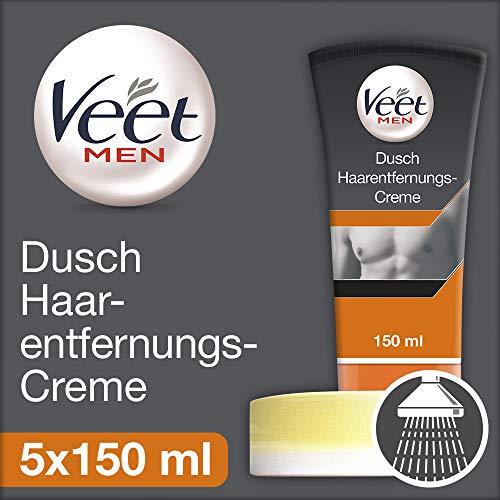 Veet for Men Dusch-Haarentfernungscreme Power Effect - Schnelle & effektive Haarentfernung für Männer in nur 3-6 Minuten - 5 x 150 ml Tube mit Schwamm