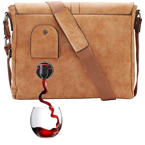 PortoVino Borsello (Cammello) - Versare 2 bottiglie di vino mentre si è in viaggio.