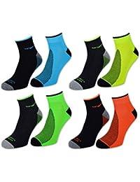 4 / 6 / 12 Paar NEON Sport Sneaker Socken Herren mit Frotteesohle verstärkt - auch in Schwarz oder Weiß Unifarben