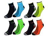 4/6/12 Paar NEON Sport Sneaker Socken Herren mit Frotteesohle verstärkt - auch in Schwarz oder Weiß Unifarben