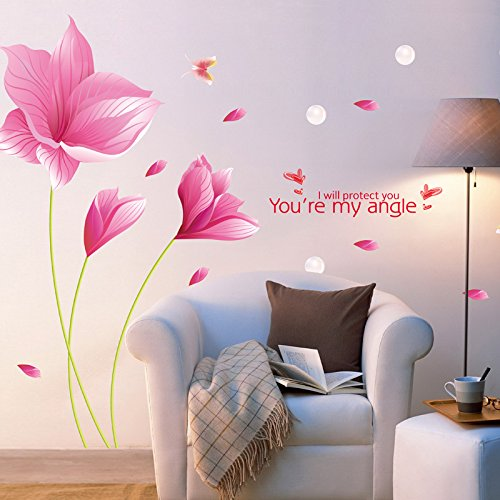 3D Wandtattoo Wandtattoo Schlafzimmer Wandstickerlilien, Wandaufkleber, Warme Wandaufkleber, Schlafzimmer Nachttisch, Rosa Orchidee, Oversize -
