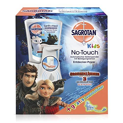 Sagrotan No-Touch Kids Automatischer Seifenspender - Inkl. Sagrotan Nachfüller Entdeckerpower Aloe Vera und Sticker, Drachenzähmen leicht gemacht Edition - 1 x 250 ml Flüssigseife