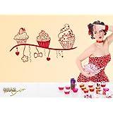 vinilo decorativo pared Sticker de Pared Pegatina cocina Cupcake postre (Tamaño=110x57cm//Color=091 Oro)
