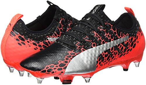 Puma Men s Evopower Vigor 1 Graph Mx SG Football Boots   Black-Silver-Fiery Coral 01   7 5 UK 7 5 UK