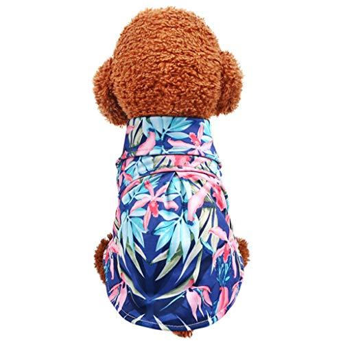 Karinao Hawaii Hemd Hund Haustier Kleidung Shirt Pet T-Shirt Sommer Bequeme Hundmantel Hundekostüm Bunt Blumen Frühling Strand Shirt für Klein Mittlere Hunde(XL,Blau)