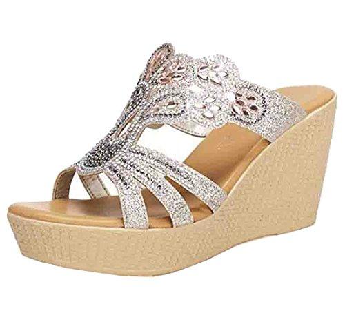 Cheerlife Damen Keilabsatz/Wedge Pantoletten Damenschuhe Sandalen Sandaletten Strass Lack Schuhe Glitzer Sommer Schuhe 35 Champagner