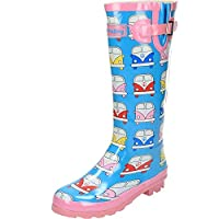 Wyre Valley Womens Pattern Animal Wellingtons Wellies Muck Boots (7 UK, Camper Van)