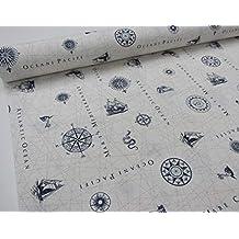 Confección Saymi Marutx – Metraje Tejido loneta Estampada Ref. Carta Nautica, con Ancho 2