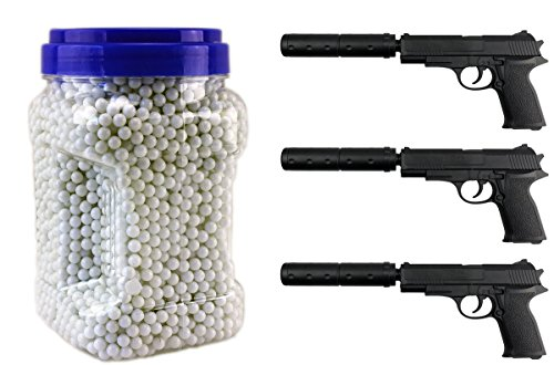 Softair Bullet Weapon Set 3x Pistole mit Schalldämpfer und 5000 Softair Munition 6mm
