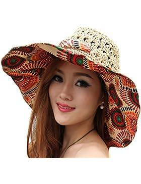 TININNA plegable Floppy de flores de Bohemia gran ala ancha hueco playa sombrero de paja sol sombrero gorra visera...