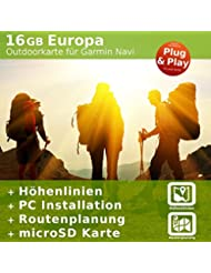 Topo Europa Karte - Kompatibel zu Garmin GPSMap 60Cx, 60CSx, 62s, 62sc, 62st, 62stc, 64, 64s, 64st, 78s