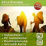 16 GB EUROPA Topo Pro Karte - Kompatibel mit Garmin eTrex Touch 35T
