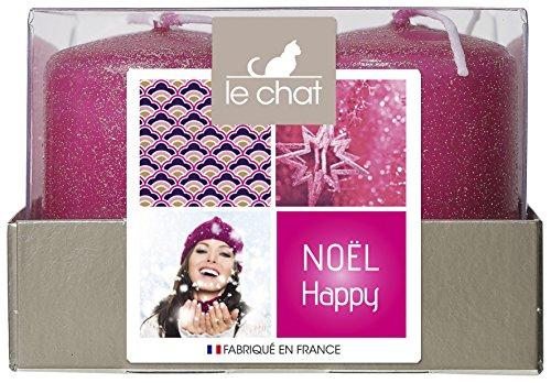 LE CHAT El módulo 1179608 Feliz Navidad 4 Velas Tamaño pequeño - Lentejuelas Fucsia