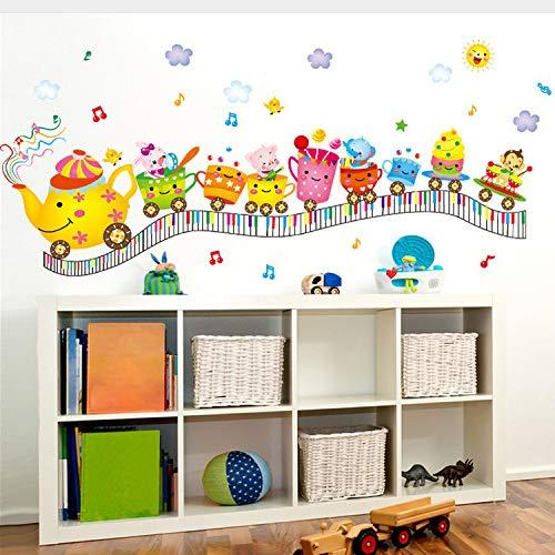 Kyzaa Neue Entfernbare Wandaufkleber Nette Karikatur Kleine Zug Gesicht Kind Baby Kinderzimmer Kindergarten Hintergrund Wand Dekoration (Baby-gesicht Halloween Malen)