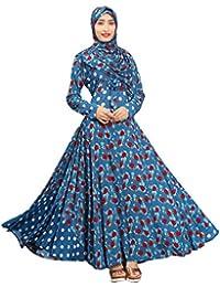 Justkartit Women Sky Blue Color Floral Printed Anarkali Umbrella Style Abhaya Burkha