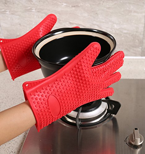 Techsun Microwave Silicone Heat Resistant Grilling BBQ Insulated Gloves for Cooking, Baking, Smoking & Potholder (2 Gloves)