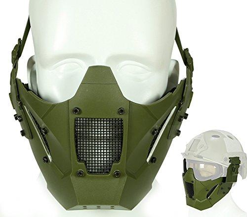 ATAIRSOFT Tactical Half Face Mesh Maske Fit Schnelle Helmschiene für Airsoft Jagd Paintball CS Spiel BB Gun Shooting OD Green