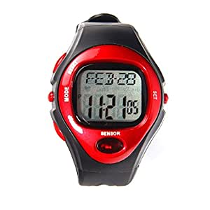 ON OFFER - Sports Exercise Fitness Watch - Red - Heart Rate Pulse, Calories, Alarm clock, Day, Date and Stopwatch - WINTER SALE
