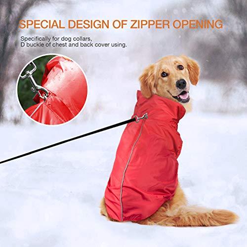 IREENUO Regenmantel Hunde, 100% Wasserdichter Hundemantel Regenjacke, mit Sicherheits Reflex Streifen, Geeignet für Outdoor-Bekleidung Mittlerer und Großer Hunde Rot-4XL - 4