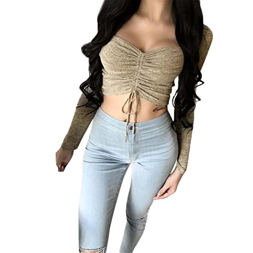 Kurze Weste BURFLY Damen Langarm Bandeau Bandage Tops Bluse Club Tops Stretchy Shirts Damen ausgeschnitten Tank Tops (S, Khaki) (Tank Top Basic Ribbed Cotton)