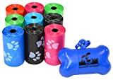 Downtown Pet Supply 180 Pet Waste Bags, Dog Waste Bags, Bulk Poop Bags on a roll, Clean up poop bag refills - (Color: Rainbow with Paw Prints) + FREE Bone Dispenser