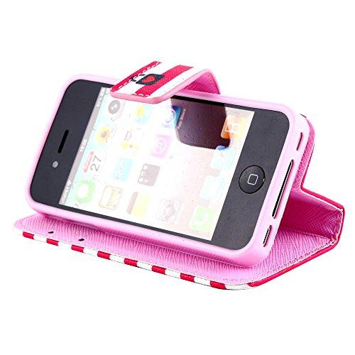 MOONCASE pour Apple iPhone 4 / 4S Case Cuir Housse de Protection Coque en Portefeuille Étui à rabat Case DKS19 DKS17 #1221